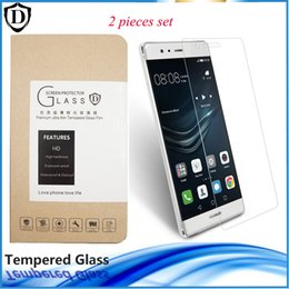 Wholesale Huawei Ascend P6 Screen - 2 pack Tempered Glass for Huawei series Hscend P6 7 8 9 plus lite Mate8 HD Clear Screen Protector with retail package