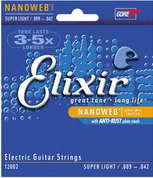 Elixir électrique en Ligne-En gros 1 Ensembles Elixir 12000 12002 12050 12052 12077 12102 Nanoweb Ultra Mince Revêtement Guitare Électrique Cordes Super Léger Livraison Gratuite