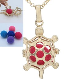 Wholesale Tortoise Charm Gold - NEW Gold Tortoise Turtle Hollow Locket Cage with Pompons Essential Oil Aromatherapy Diffuser Pendant Chain Necklace Jewelry Charms