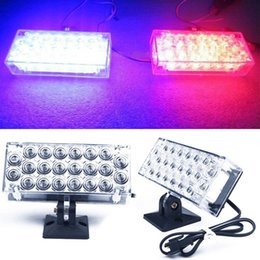 Wholesale Car Grill Led Strobe Light - New 2X 22 LED Blue-Red Motorcycle Car Van Truck Boat Strobe Flash Lights Grill Emergency lamp 12V <$18 no tracking