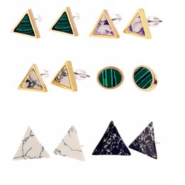 Wholesale Synthetic Jewelry Stone - European and American trade jewelry wholesale fashion simple wild triangle synthetic stone turquoise earrings earrings Free shipping