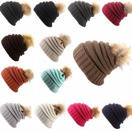 Wholesale Accessories For Golf - 15 Colors Pom Beanies Hats New Winter Cap for Women Warm Knitted Fashion Hat Headgear Fashion Accessories CCA8015 20pcs