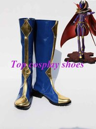 Wholesale Code Geass Lelouch Cosplay Costume - Wholesale-Freeshipping custom-made anime Code Geass Cosplay Lelouch Zero Blue Cosplay Boots shoes for Halloween Christmas festival