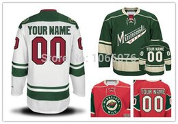 Wholesale Cheap Wild Hockey Jerseys - Minnesota Wild Jerseys Custom Cheap Hockey Personalized Home Away Jerseys Sewn on Logo any NO. & Name YL-4XL