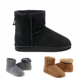 Wholesale Sheepskin Heels - Hot Winter Snow Boots Classic Women Warm Mini Boot Christmas Ladies Minis Shoes Chestnut Chocolate Grey Black Sale