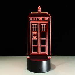 Wholesale Star Phone Batteries - 2017 Phone Booth 3D Optical Illusion Lamp Night Light DC 5V USB AA Battery Wholesale Dropshipping