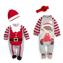 Wholesale girl pjs - Santa Infant Rompers Baby Boys Girls Xmas snowflakes Deers Rompers Babies Jumpsuits Toddler Christmas Clothes children Pjs Clothing