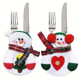Wholesale Pcs Cutlery Set - 12 Pcs Lot Xmas Decor Lovely Snowman Kitchen Tableware Holder Pocket Dinner Cutlery Bag Party Christmas table decoration cutlery sets