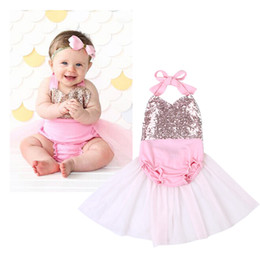 Wholesale Summer Photo Clothes Fashion - Fashion Baby Backless One-Piece Newborn Girls Sequins Clothing Princess Halter Romper Tu Tu Dress Photo Prop Outfits