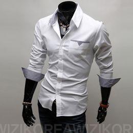 Wholesale Mens Designer Shirts Wholesale - Wholesale- Summer Fashion Designer Mens Long Sleeve Shirt Casual Men Social Shirt Male Shirts camisa masculina Regular Fit