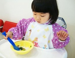Wholesale Children Art Smock - Free shipping 120pcs lot Hot Sale New Cute Children Baby Todder Waterproof Long Sleeve Art Smock Bib Apron