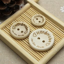 Wholesale Two Hole Heart Button - 100pcs lot New Laser Cut handmade love heart Design with you two Hole wooden botton DIY Wood Button Clothing Accessories