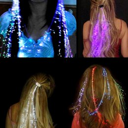 Wholesale Wholesale Easter Hair Clips - Colorful LED Wigs Glowing Flash LED Hair Braid Clip Hairpin Decoration Ligth Up Show Easter Party supplies Christmas