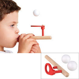 Wholesale Balance Balls Toy - Wholesale-Wooden Blowing Balance Folating Ball Flute Shape Blow Kid Educational Toy