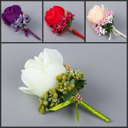 Wholesale Silk Brooch Flowers - Wedding Man Boutonniere Stain Silk Rose Flower 6 Color Available Groom Groomsman Floral Pin Brooch Corsage Suit Decoration