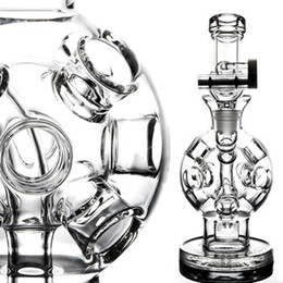 Wholesale Hookah Balls - Holes ball Fab Egg Recycler Dab Rigs Thick Glass Bongs Free Shipping 2 Function Glass Water Pipes Smoking Pipe Hookahs 14 mm Joint Shisha