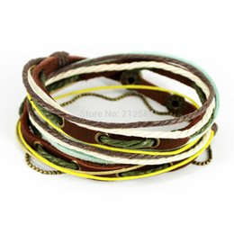 Wholesale Mens Multi Strand Leather Bracelets - Wholesale-D315 Handmade Fashion Hip Hop Punk Leather Multi Wrap Bracelet Surfer Rope Bangles Mens Womens Friendship Free Shipping