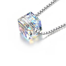 swarovski silberner anhänger Rabatt 925 Sterling Silber Anhänger Halskette Mit Swarovski Elements Kristall Modeschmuck 5601 Cube AB Farbe SWN001