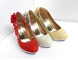 Wholesale Bride Peep Toe Shoes - Hot Sales Women Fashion Heeled Shoes Bride Wedding Shoes Gold Dress shoes 35-39 Round Head Girl Shoe Free shipping