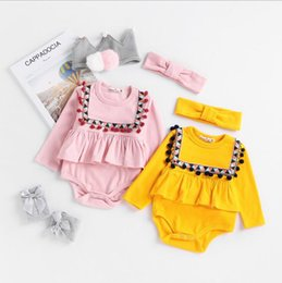 Wholesale Nationals Band - INS 2 colors new arrivals fall baby kids climbing romper national style long sleeve romper + Hair band high quality cotton romper sets