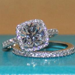 Wholesale Cheap Simulated Diamond Rings - Women's 925 Sterling Silver Cushion-cut Simulated Diamond Stone CZ Pave Set Bridal Wedding Ring Set Cheap stone ear