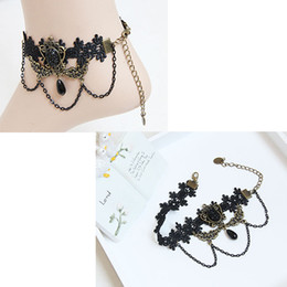 Wholesale Lace Foot Jewelry - Women Black Lace Beads Drop Chain Ankle Anklet Ladies Party Foot Bracelet Lolita Prom Party Cosplay Show Barefoot Sandals Jewelry Gift