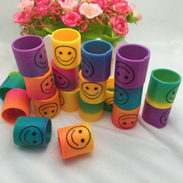 Wholesale Toys Springs - Wholesale- 24 PCS Lot Rainbow Spring Magic Plastic Slinky Rainbow Spring Colorful Children Funny Classic Toy Small toy for children