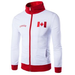 Wholesale Canada Outwear - Wholesale- Men Jerseys Jackets Suit Embroidery Counties Flags Canada,England Jersey slim zipper Tracksuit Hoodie Zippers Roupas Man Outwear
