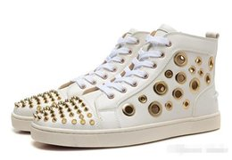 Wholesale Cutout Fashion - new 2016 fashion men women genuine leather with spiked toe cutout high top sneakers,designer crystal red bottom sports causal shoes 36-46