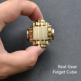 Wholesale Real Science - Gear Fidget Cube Updated Version Real Gear Spinnersr EDC Toys Brass Material with 6pcs R188 Bearing Decompression Finger Gyro Toys