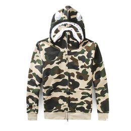 Wholesale Full Zip Hoodie - 2017 Cheap New winter Hoodie Men's Bapes A Bathing AAPE Ape Bapes Shark Hooded Hoodie Coat Camo Full Zip Jacket Camouflage