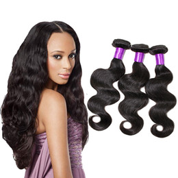 Wholesale Cheap Real Hair Pieces - Real Hair Extensions 6A Unprocessed Brazilian Virgin Hair Body Wave Cheap Human Hair Weave Bundles 3 Or 4 Pieces Natural Color Black 1B