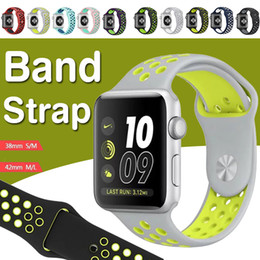 Wholesale Apple Rubber Band - 38MM 42MM Replacement Silicone Soft Rubber Wrist Bracelet Strap For Apple Watch iWatch Series 1 2 3 Straps Band Wristband Sport Edition Hole