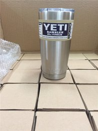 Wholesale Double Wall Bottle - Yeti 20 oz Cups Cooler YETI Rambler Tumbler Travel Vehicle Beer Mug Double Wall Bilayer Vacuum Insulated 304 Stainless Steel
