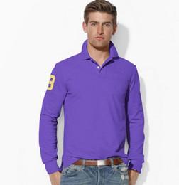 Wholesale Men S Style Embroidery Dresses - Top sales Big Pony Golf men Polo shirts Autumn business men long sleeve cotton Horse embroidery Labels Polos Custom Design long Dress shirt