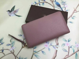 Wholesale Credit Card Orders - Welcome to order new fashion women's wallets 19 * 10 * 2.5cm diagonal header layer of leather zipper long wallet Free Shipping