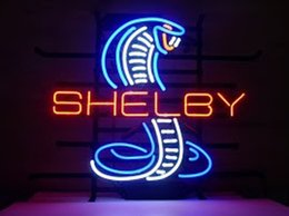 Wholesale Cobra Light Bar - Shelby Cobra Real Glass Neon Light Sign Home Beer Bar Pub Recreation Room Game Room Windows Garage Wall Sign