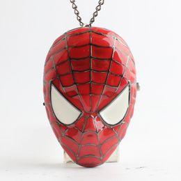 Wholesale New Spiderman Mask - Spiderman Spider-Man Mask Pendants pocket watch Necklaces flip locket quartz watch clocks for women men children Christmas gift 230208