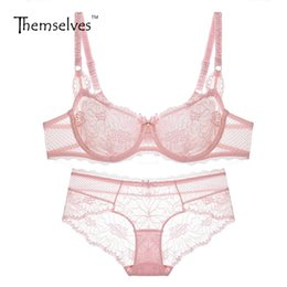Wholesale Thin Comfortable Underwear - Bra Brief Sets 2017 new French ultra-thin sexy lace transparent lingerie underwear comfortable and healthy women bra sets