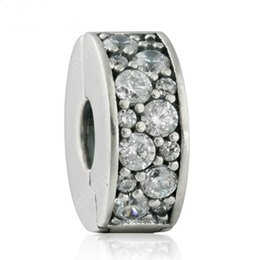 Wholesale Diy Charm Bead Stopper - 2017 New Shining Elegance Clip Charm Bead Fits Brand Bracelets 925 Sterling Silver Pave AAA Clear CZ Stopper Beads DIY Pandora Jewelry HB647