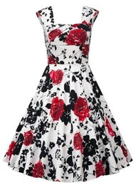 Wholesale Square Plus Size Clothing - Free Shipping Plus Size New Hot Women Rockabilly Casual Dresses A line Square Neck Sleeveless Print Flora Women Fashion Clothing FS0009