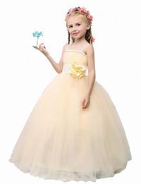Wholesale Elegant Evening Kids Dresses - 2017 Flower Girl Dresses For Children Kids Girl Ball Gown First Communion Girls Pageant Dresses Elegant Evening Dress