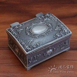 Wholesale Vintage Design Tin Box - 100pcs lot FREE Express Shipping Fashion Metal Jewelry Case trinket box Vintage Carved Flower Design Tin-alloy Box SMALL size