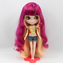 Wholesale Plastic Doll Bodies - Wholesale- blyth doll normal body, colour hair red and yellow with bangs , factory R4BL077136 12481019 blyth girl doll Child gift