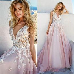 Wholesale Open Back Wedding Dresses Empire - 2018 Elegant Eva Lendel Wedding Dresses Deep V-Neck Heavily Lace Bodice Romantic Pretty Pink Wedding Bridal Dresses Open Back Wedding Gowns