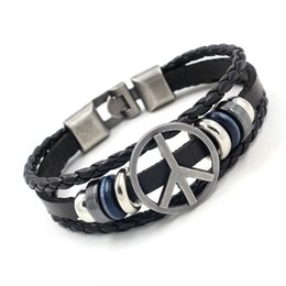 Wholesale Silver Peace Signs - Fashion Metal Peace Sign Leather Bracelets Handmade Multilayer Beaded Charm Bracelets Wristband High Quality Jewelry For Men and Women Gifts