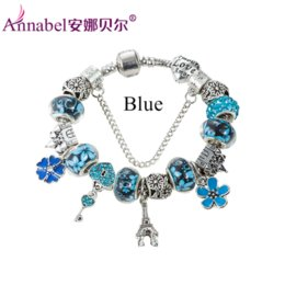 Wholesale Gold Murano Beads - 2016 New Fashion Mix Style Charm Bracelet for Women Antique Silver Murano Glass Beads Bracelets & Bangles DIY Jewelry