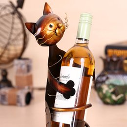 Wholesale Metal Craft Ornaments - TOOARTS Cat shaped Wine Holder Wine shelf Metal sculpture Practical sculpture Home decoration Interior decoration Crafts A017