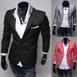 Wholesale Patch Suit Design - Wholesale- Free shipping Men's leisure suit men's pocket patch design suit jacket high quality suits M US-XS L US-S XL US-M XXL US-L
