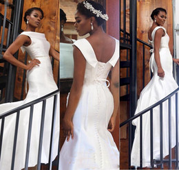 Wholesale Mermaid Style Cocktail Dresses - Elegant White Mermaid Black Girl Prom Dresses Satin Lace Up Back Covered Aso Ebi Style Evening Gowns Formal Party Cocktail Dresses